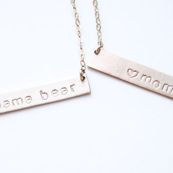 Mama Bear Necklace / Gold mom Necklace/ Christmas Gift / Mommy Gift / Bar Necklace / Mother Necklaces Handstamped / Mamabear