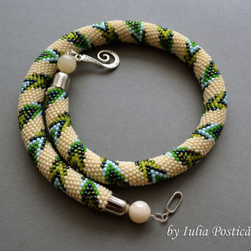 "Pattern for bead crochet necklace ""Path In Spring"" / Bead crochet pattern / Beaded Necklace / Beige, green, blue / PATTERN ONLY"
