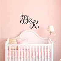 Personalized Monogram Wall Decal- Two Letter Monogram Decal- Monogram Letters for Wall- Monogram Nursery Decal- Personalized Letters 145