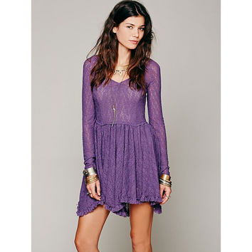 Long Sleeve Crochet Lace Pleated Mini Dress