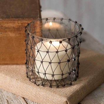 Julia Wire Candle Holder with Glass - Set of 4