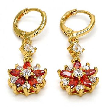 Gold Layered 02.210.0021 Long Earring, Flower Design, with Garnet and White Cubic Zirconia, Polished Finish, Gold Tone
