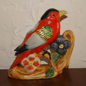 Vintage 1940s Ceramic Multi Color Bud Vase Or Planter Made In Japan Colorful Bird On Limb With Flower Trim