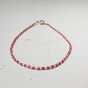 "Red White Seed Bead Anklet Plus Size Bracelet 10 1/2"" Hippie Beach Style Bohemian Indie Jewelry Festival Stack Bugle Beads"
