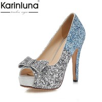 KARINLUNA 2017 Large Size 34-43 Peep Toe Platform Women Shoes Woman Sexy Bowtie Bling Thin High Heels Party Wedding Pumps