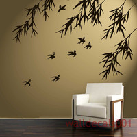 Vinyl Wall Decal Sticker Art birds with bamboo by walldecals001