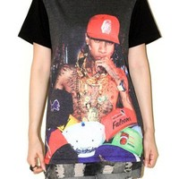 Tyga Hats Rapper Hip Hop Black Short Sleeve Punk Rock T-Shirt Size M