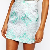River Island Floral Jacquard Mini Skirt