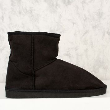 Black Round Toe Mini Boots Faux Suede
