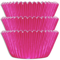 Hot Pink Foil Baking Cups