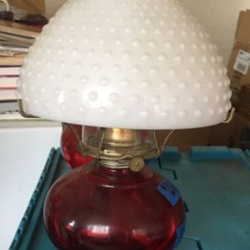 "Vintage Oil Lamp, 15"" Red Base With Original Milk Glass Shade,"