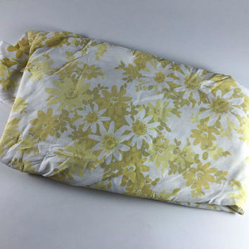 Vintage Flower Double Bed Fitted Sheet Retro Yellow Olive Green White Floral Fabric Linens Bedding Bedroom Decor