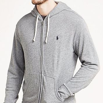 CREYV9O Polo Ralph Lauren Fashionable Unisex Casual Logo Embroidery Zipper Hoodie Pullover Top Sweater Coat Grey I-KWKWM
