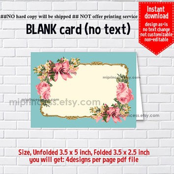 Instant Download, blank Card, vintage frame, bow, floral, food tent Card, place card, 3.5x2.5inch printable , non-editable NOT CUSTOMIZABLE