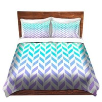 Duvet Cover Brushed Twill Twin, Queen, King SETs from DiaNoche Designs by Organic Saturation Unique Home Decor and Designer Bedding Ideas - Ombre Herringbone Pattern