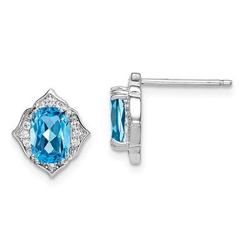 Sterling Silver Swiss Blue Topaz And White CZ Post Dangle Earrings