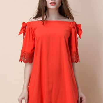 Coral Story Off-shoulder Dress