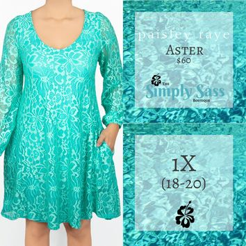 Aster Popover Dress - Teal Lace (1X)
