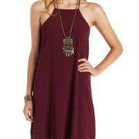 Burgundy Strappy Racer Front Shift Dress by Charlotte Russe