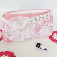 Valentine day gift  Romantic makeup storage pink satin fabric Elegant white lace pouch with zipper Little cosmetic bag shabby chic