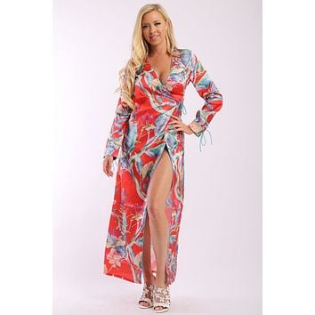 Floral Print Kimono Style Satin Dress With Long Sleeves