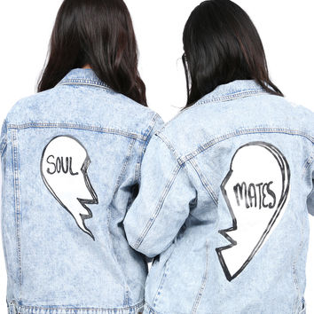 SOUL MATES BFF Denim Jackets with Patches