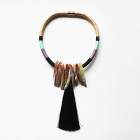 Fringe Necklace, Ethnic Necklace, Rope Necklace, Tassel Jewelry, Textile Jewelry, Black, Mint, Beige