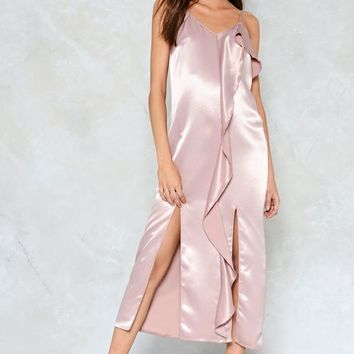 Let Your Love Flow Satin Slip Dress