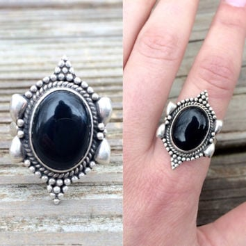 vintage sterling silver onyx ring - size 8 ring