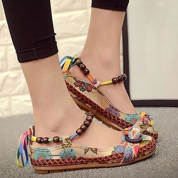 Newest Women Ethnic Lace Up Beading Round Toe Comfortable Flats Colorful Loafers Shoes