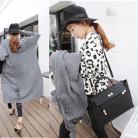 Knitting Sweater Long Section Designed Women Cardigan Coat Casual Style = 1667477700