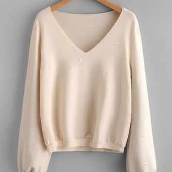 Ribbed Raw Neckline Sweatshirt