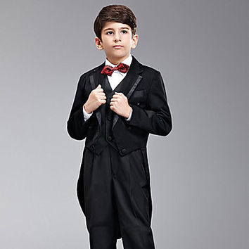 Seven Pieces Black Swallow-tail Ring Bearer Suit With Two Bow Ties