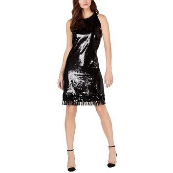 Sequin Fringe Trim Dress