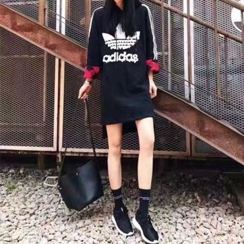 DCCKXT7 Adidas' Fashion Casual Stripe Clover Letter Sequin Long Sleeve Hooded Mini Dress