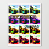 Melbourne & Tram Stretched Canvas by Limmyth