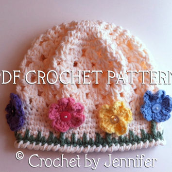 Crochet Pattern for Flower Garden Hat - 5 sizes, baby to adult - Welcome to sell finished items