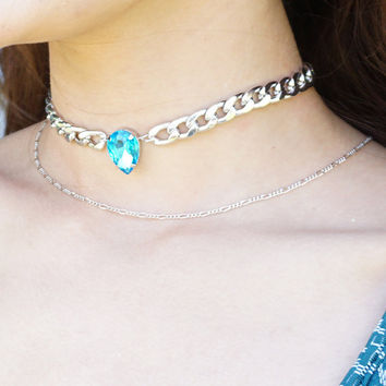 Unicorn Tear Choker, Pear Crystal Choker, Curb Chain Teardrop Crystal Choker Necklace, 90s Choker Neckace
