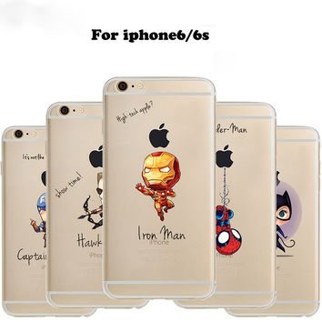 Phone Case Marvel The Avengers  Batman DC Comics Superhero soft Transparent TPU case cover for iPhone 6 6S 5 5S SE 6plus 6splus