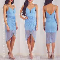 By Your Side Lace Dress - Baby Blue