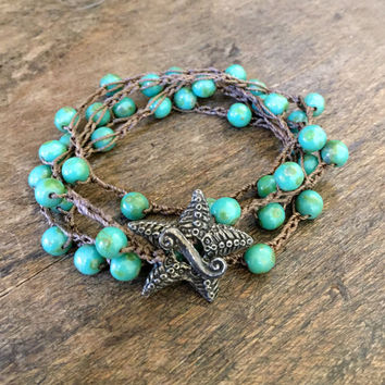 Starfish Crochet Bracelet Multi Wrap, Surfer Girl, Waters Edge, Turquoise Crocheted Jewelry by Two Silver Sisters twosilversisters