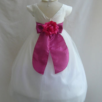 Flower Girl Dress VB IVORY FUCHSIA Wedding Children Christmas Easter Recital Pageant Bridesmaid Communion Church Toddler Baby Cheap