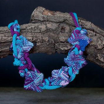 Blue purple statement necklace, knitted fiber rustic jewelry, OOAK wearable art