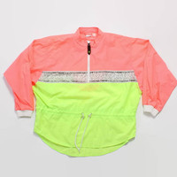Vintage 80s OP Windbreaker / 1980s Bright Neon Colorblock Nylon Half Zip Ocean Pacific Pullover