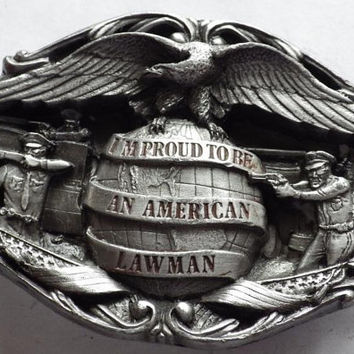 1985 Proud to be an American Lawman Buckle Bergamot Brass Works