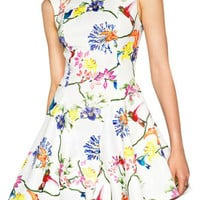 Floral Sleeveless Pleated Mini Dress