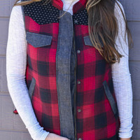 Brighton Pathways Red Plaid Vest With Contrast Details & Fuzzy Lining