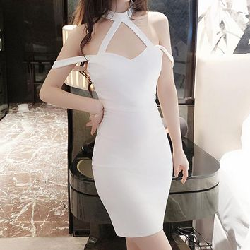 Solid color Fashion low-cut dress