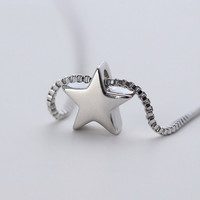 New Arrival Stylish Jewelry Shiny Gift 925 Silver Simple Design Pendant Korean Fashion Necklace [8080528711]