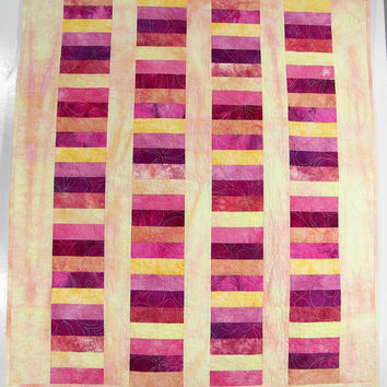 Baby Girl Quilt, Stacked Coins Crib Blanket or Cot Quilt, Wall Hanging in Hand Dyed Yellow, Peach, Pink and Purple Cottons